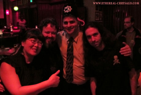 Gwen and Brian Callahan, Andrew Migliore and Syl Disjonk at the H.P. Lovecraft Film Festival in fall 2011, Portland, Oregon, USA